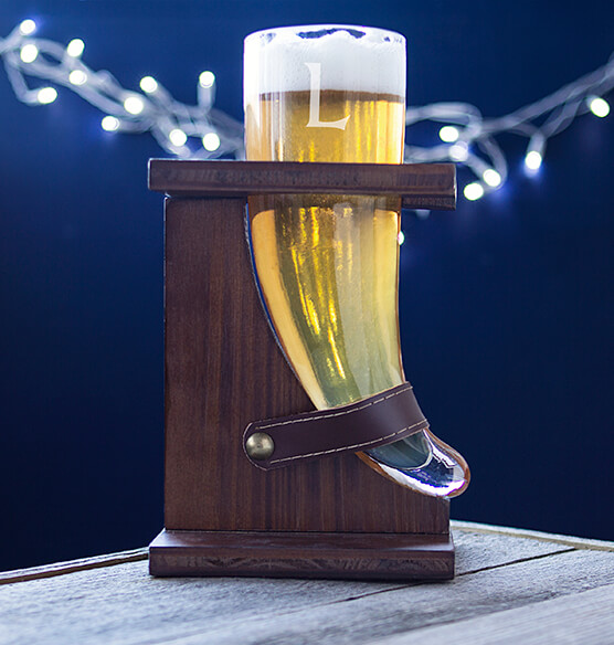 Personalized Glass Viking Beer Horn 16 oz. with Rustic Stand - View 3