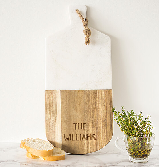 Personalized Marble & Acacia Serving Board - View 3