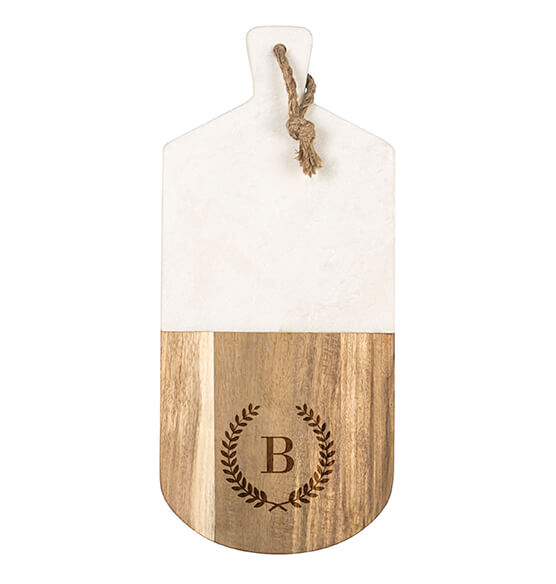 Personalized Marble & Acacia Serving Board - View 4