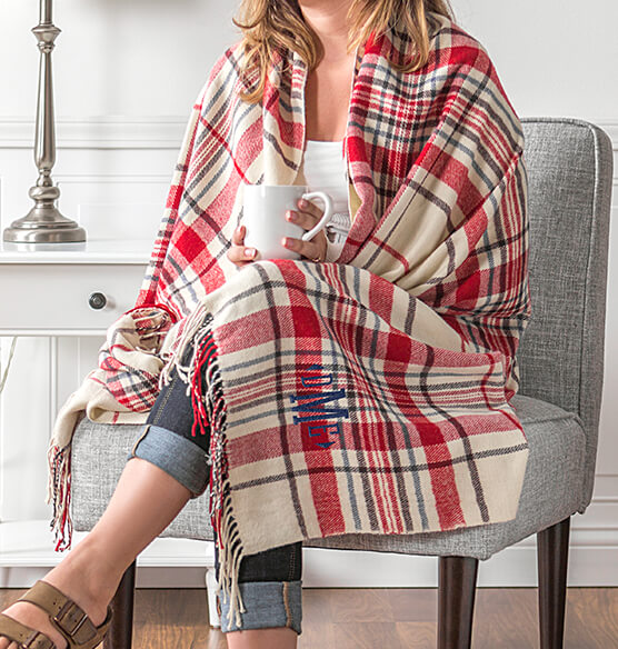 Personalized Red Plaid Throw - View 2