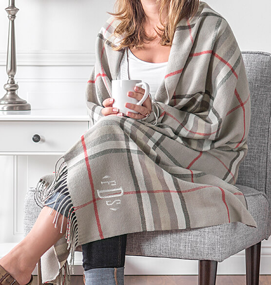 Personalized Grey Plaid Throw - View 3
