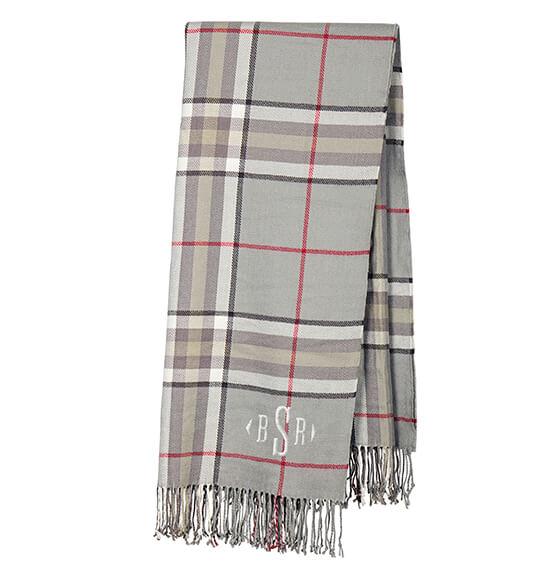 Personalized Grey Plaid Throw - View 4