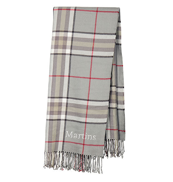 Personalized Grey Plaid Throw - View 5