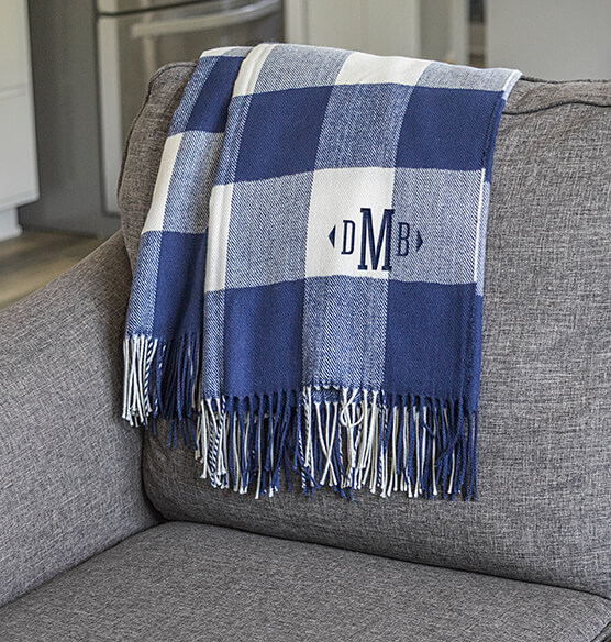 Personalized Buffalo Check Throw - View 3
