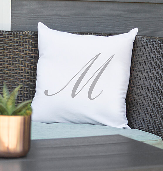 "Personalized Script Initial 16"" Throw Pillow - View 3"