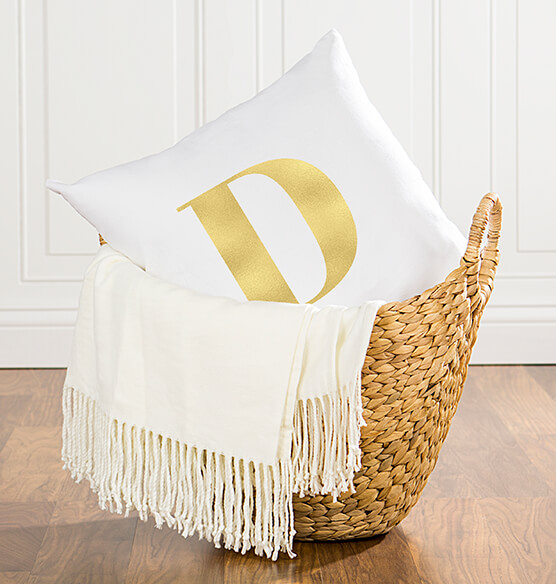 "Personalized Gold Foil Initial 16"" Throw Pillow - View 3"