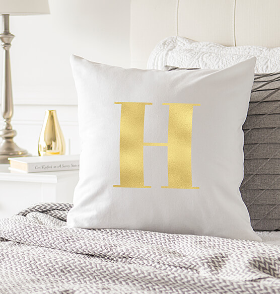 "Personalized Gold Foil Initial 16"" Throw Pillow - View 4"