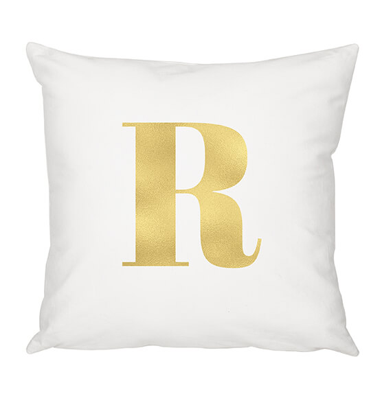 "Personalized Gold Foil Initial 16"" Throw Pillow - View 5"