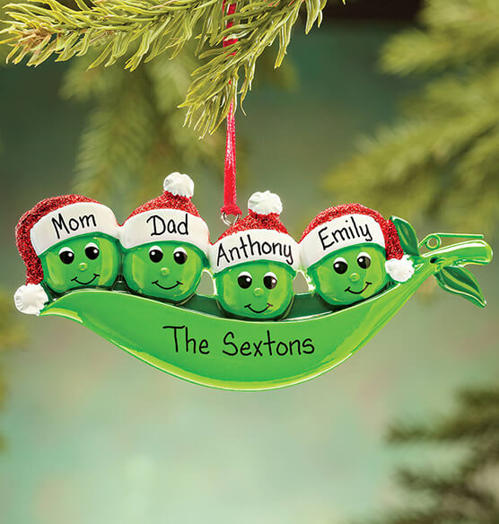 Personalized Peas in a Pod Ornament - View 3