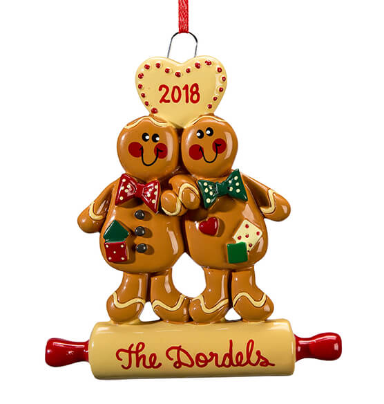 Personalized Gingerbread Couple Ornament - View 2