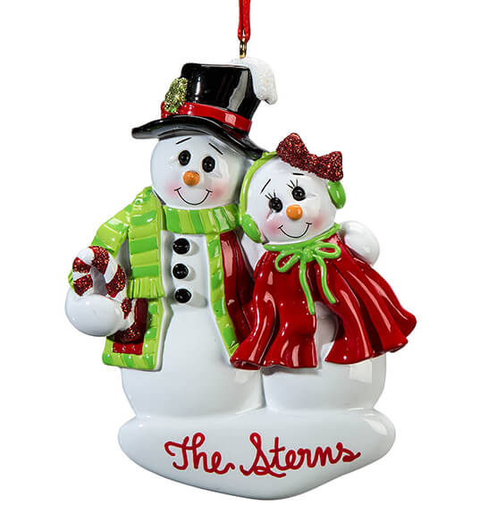 Personalized Snowcouple Ornament - View 2