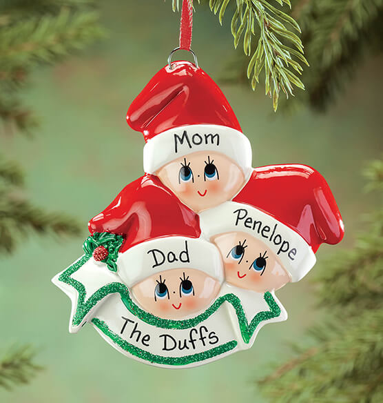 Personalized Family in Stocking Caps Ornament - View 2