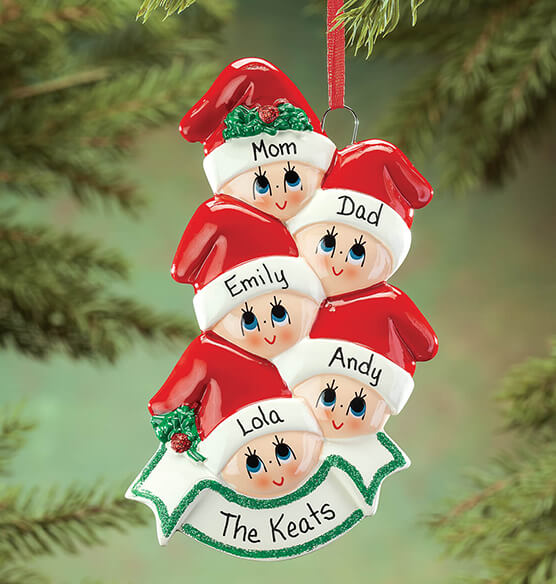 Personalized Family in Stocking Caps Ornament - View 3