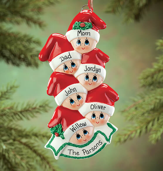 Personalized Family in Stocking Caps Ornament - View 4