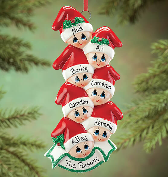 Personalized Family in Stocking Caps Ornament - View 5