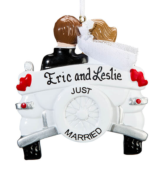 Personalized Just Married Car Ornament - View 2
