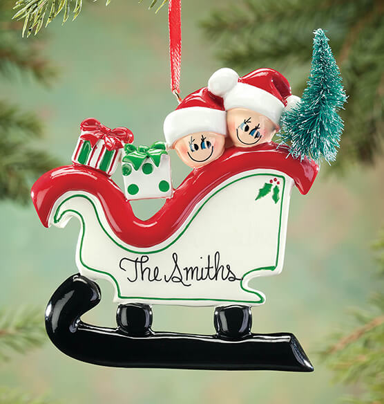 Personalized Sleigh Family Ornament - View 2