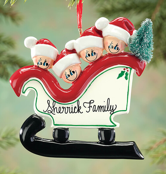 Personalized Sleigh Family Ornament - View 3