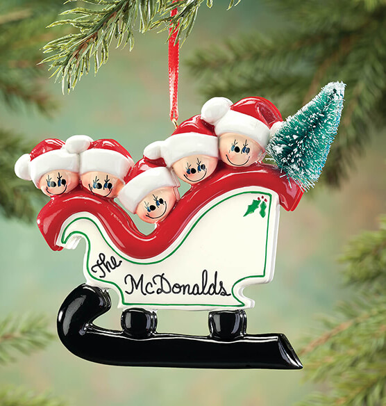 Personalized Sleigh Family Ornament - View 4