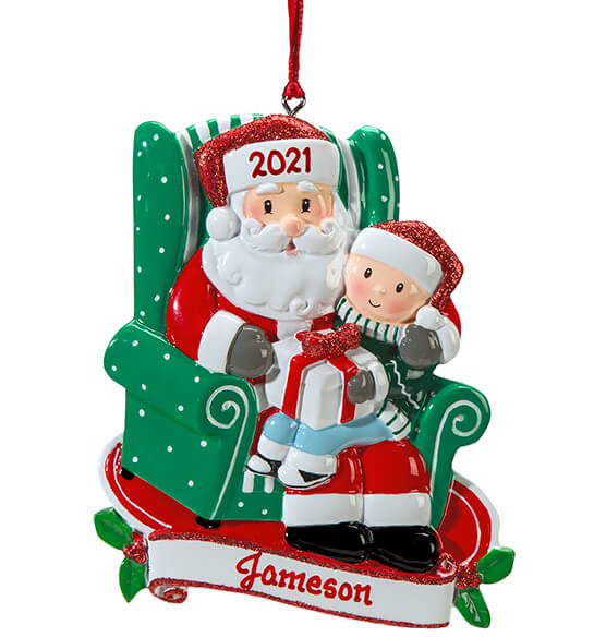 Personalized Santa and Child Ornament - View 2