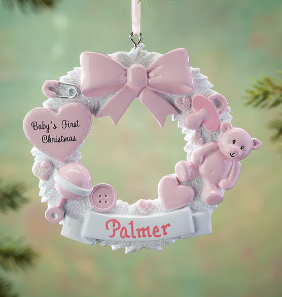 Personalized Baby's First Christmas Wreath Ornament - View 2