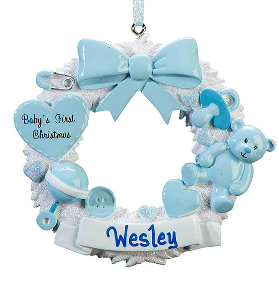 Personalized Baby's First Christmas Wreath Ornament - View 3