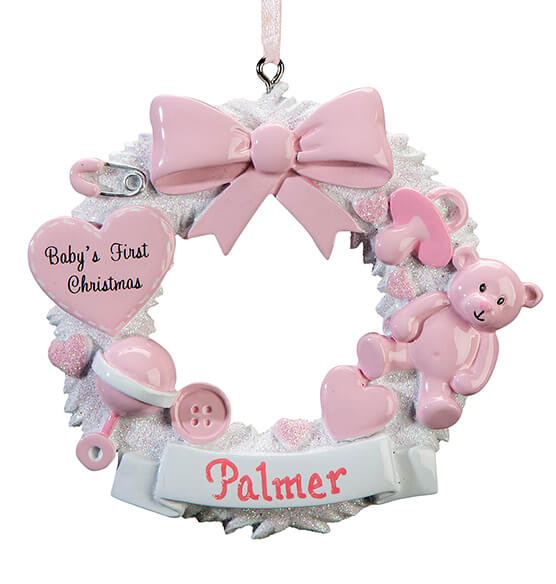 Personalized Baby's First Christmas Wreath Ornament - View 4