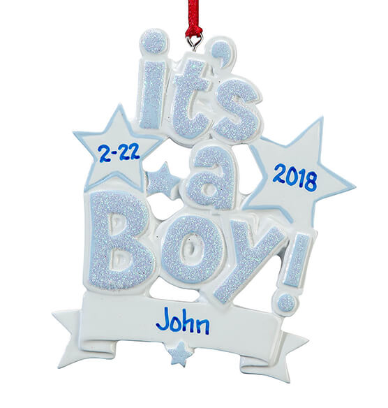 Personalized It's a Boy Ornament - View 2