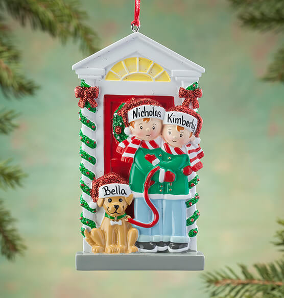 Personalized Family and Dog Ornament - View 2