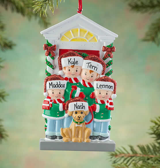 Personalized Family and Dog Ornament - View 3