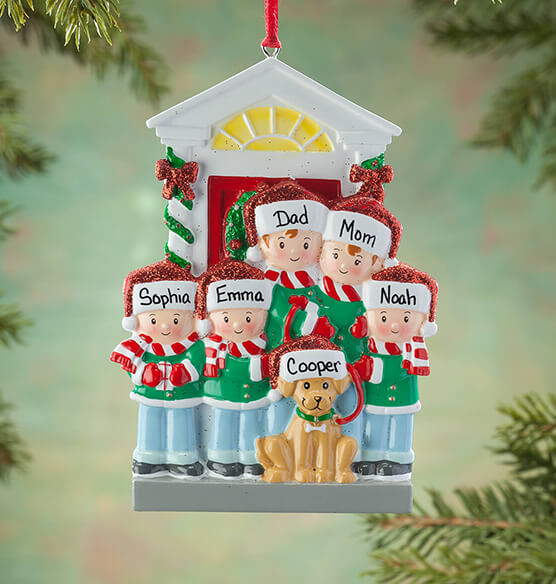 Personalized Family and Dog Ornament - View 4