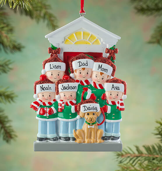 Personalized Family and Dog Ornament - View 5