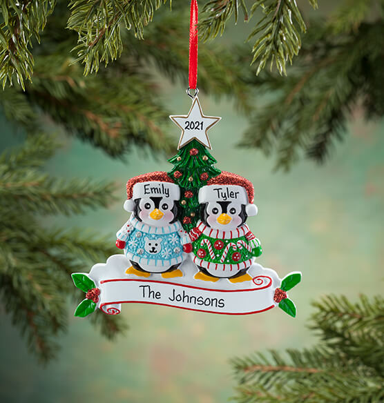 Personalized Penguins in Ugly Sweaters Ornament - View 2