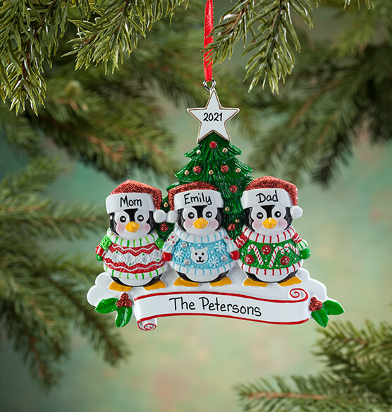 Personalized Penguins in Ugly Sweaters Ornament - View 3