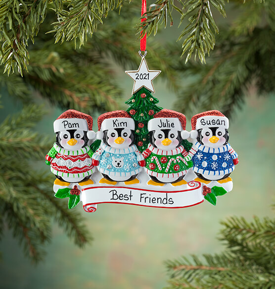 Personalized Penguins in Ugly Sweaters Ornament - View 4