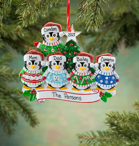 Personalized Penguins in Ugly Sweaters Ornament - View 5