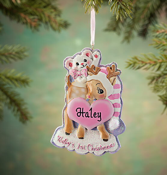 Personalized Baby's First Christmas Deer Ornament - View 2