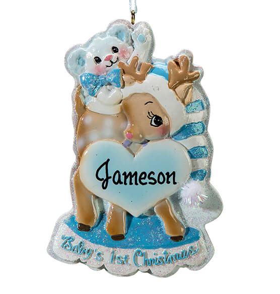 Personalized Baby's First Christmas Deer Ornament - View 3