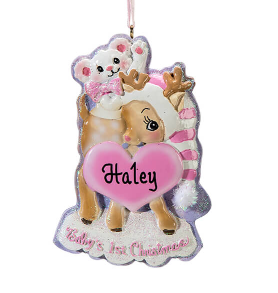 Personalized Baby's First Christmas Deer Ornament - View 4