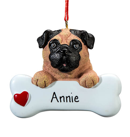 Personalized Pug Ornament - View 2