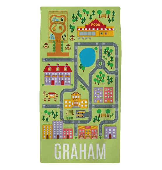 Personalized Neighborhood Road Map Kid's Beach Towel - View 2