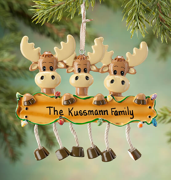 Personalized Moose Family Ornament - View 2