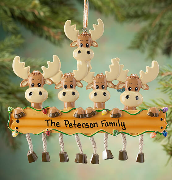 Personalized Moose Family Ornament - View 4