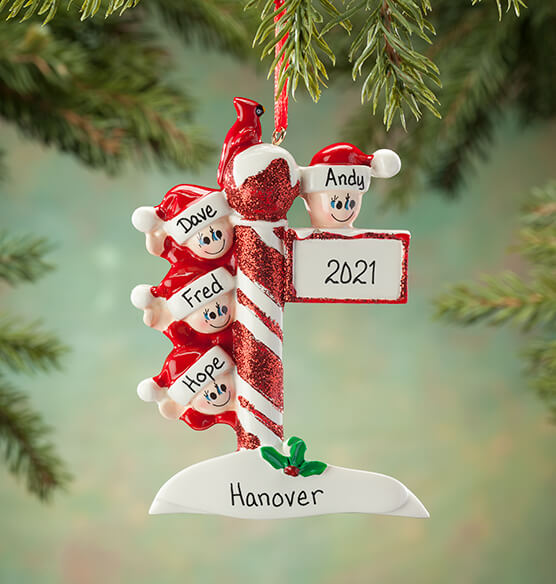 Personalized Street Post Family Ornament - View 3