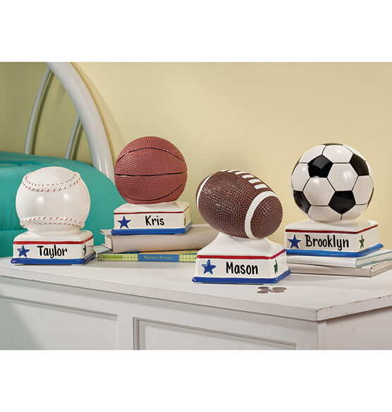 Personalized Soccer Ball Bank - View 2