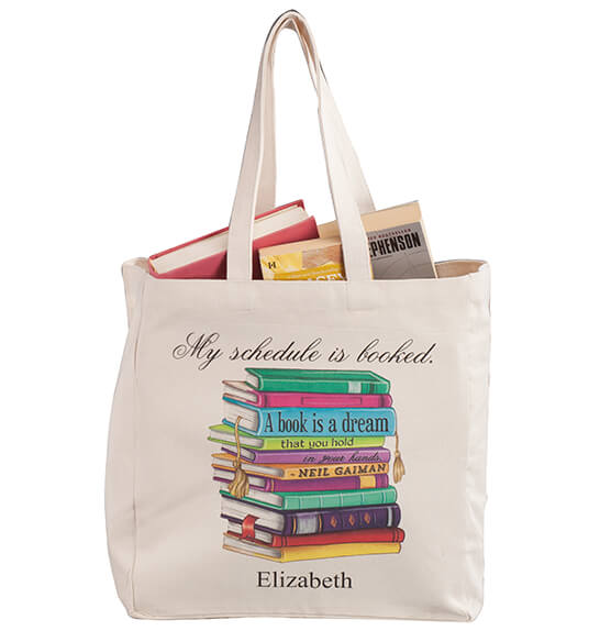 Personalized My Schedule Book Club Tote - View 4