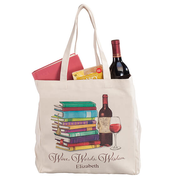 Personalized Wine, Words, Wisdom Book Club Tote - View 4