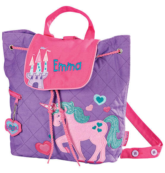 Personalized Stephen Joseph® Unicorn Quilted Backpack - View 2