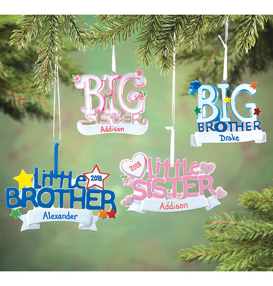Personalized Little Brother Ornament - View 2