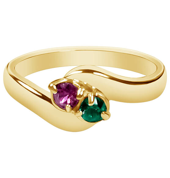 Birthstone Crystal Gold-Plated Bypass Ring - View 2